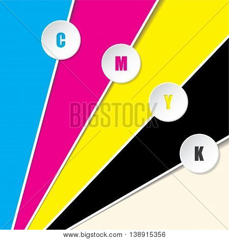 Abstract cmyk background with 3d buttons and CMYK text