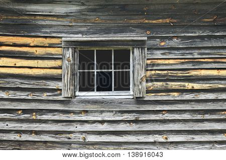 Old wooden wall with window backdrop rural Georgia, USA