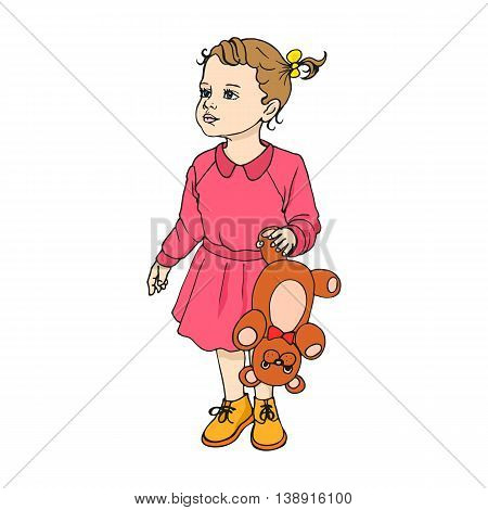 Vector illustration of a beautiful child with a cute teddy bear. Isolated on white background.