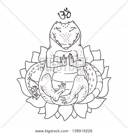 Meditating Alligator Drawing