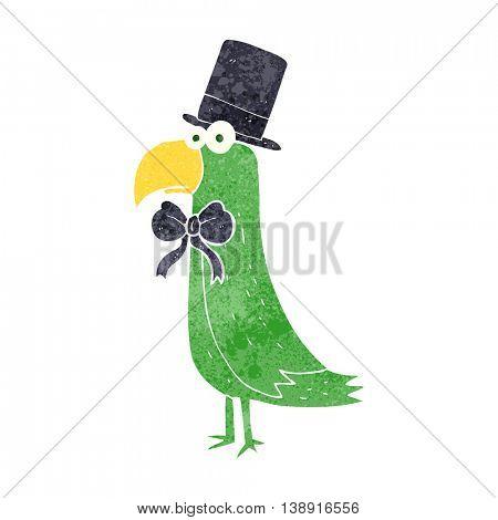 freehand retro cartoon posh parrot