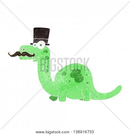 freehand retro cartoon posh dinosaur