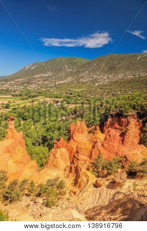 Red Rocks In Colorado Provence In Luberon Park, France