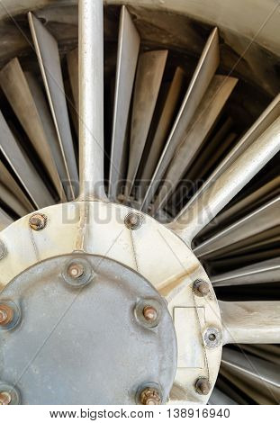 turbine blades and inside a close-up of a jet engine military plane. Technical background