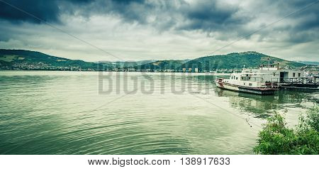 Cityscape Of Port City Orsova On Danube River