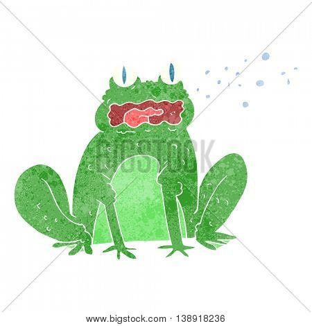 freehand retro cartoon burping frog poster