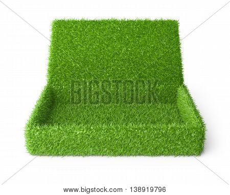 Open box covered a green grass. 3d image isolated on a white background.