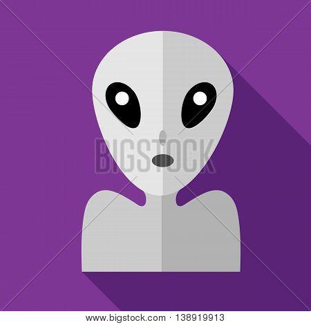 Alien icon in flat style on a purple background