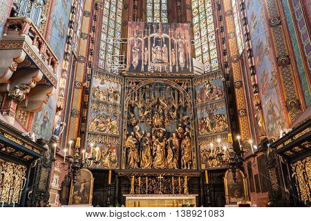 CRACOW, POLAND - June 30, 2016: The altarpiece of Veit Stoss in St. Mary's Basilica. Also known as St. Mary's Altar