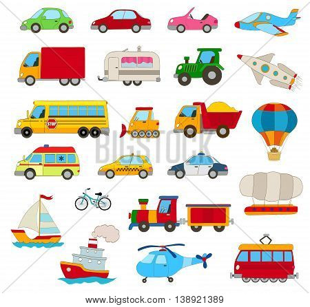 set of cartoon cars vehicles other transportation on white.