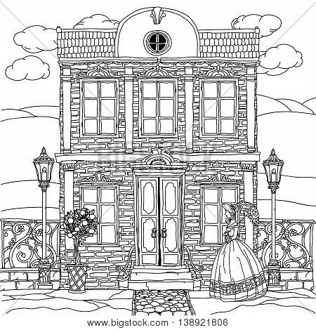 Contoured Black and white victorian house with a strolling woman in crinoline with vintage umbrella. for adult coloring book or for zen art therapy drawing. Hand-drawn, vector, for coloring, posters