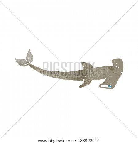 freehand retro cartoon hammerhead shark