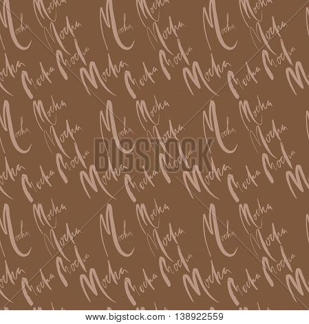 Vector illustration of seamless coffee pattern. Seamless mocha pattern