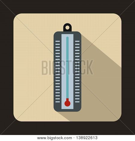 Thermometer indicates low temperature icon in flat style on a beige background