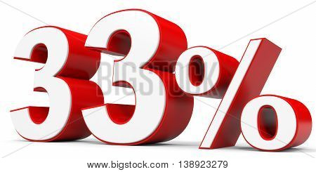 Discount 33 percent off on white background. 3D illustration.