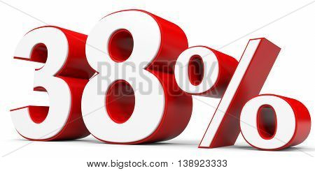 Discount 38 percent off on white background. 3D illustration.