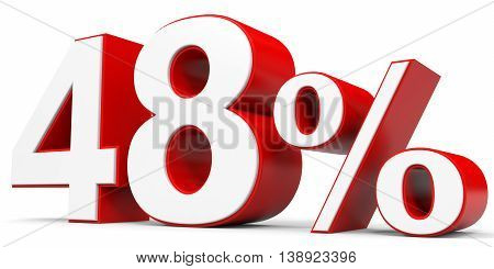 Discount 48 percent off on white background. 3D illustration.