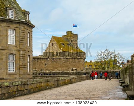 SAINT MALO FRANCE - MAY 1 2014: The Intramuros - Internal City of Saint Malo. Brittany, France