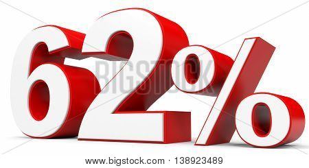Discount 62 percent off on white background. 3D illustration.