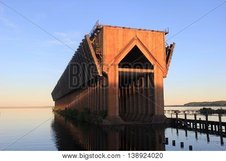 Iron Ore Pocket Dock in Marquette an town Upper Peninsula of Michigan
