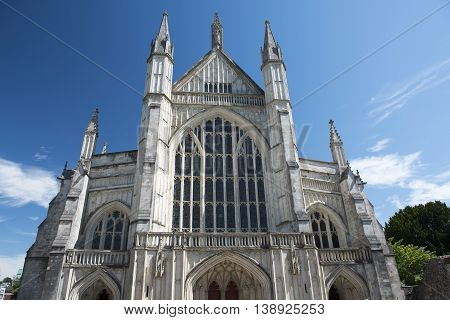west facade of Winchester Cathedral,  Winchester, Hampshire, England