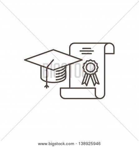 Education concept line Icon. Graduation cap and diploma - vector illustration