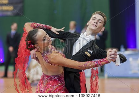 Minsk Belarus -May 28 2016: Egorov Vladislav and Chaplinskaya Tatiana Performs Juvenile-1 Standard European Program on National Championship of the Republic of Belarus in May 28 2016 in Minsk Republic of Belarus