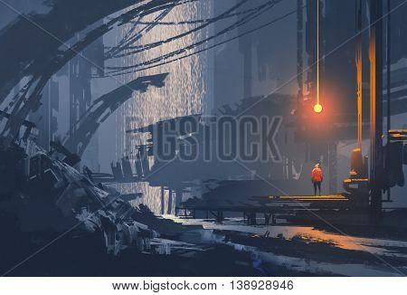 landscape painting of underground city, sci-fi illustration