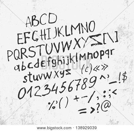 Hand made letters script font and grange background. Color vector illustration. EPS8