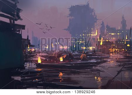 boats in harbor of futuristic city, evening scene, illustration painting