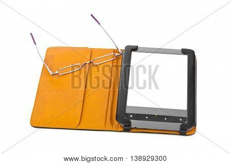 E-book reader and glasses isolated on white background