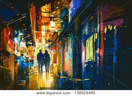 couple walking in alley with colorful lights, digital painting