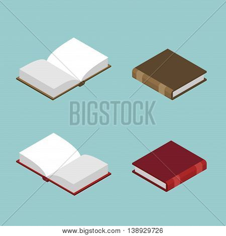Book Isometric Set. Open Volume Isolated. Ancient Text. Old Edition In Hard Cover