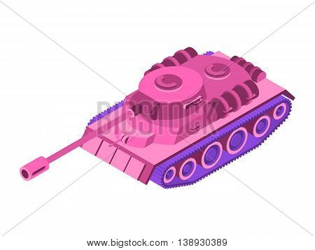 Toy Pink Tank Isometric On White Background. Military Machine Clockwork Plaything Rose Tank. Female
