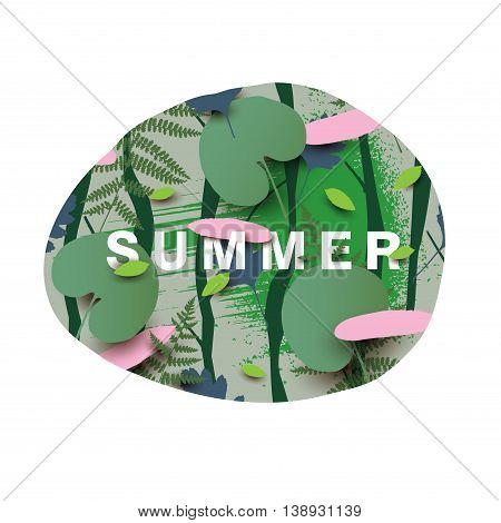 Summer illustration with different leaves. Modern vector illustration with falling leaves in the forest.