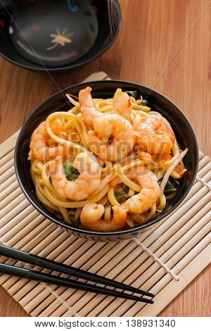 King prawn Chow Mein or Lo Mein stir fried prawns with egg noodles vegetables and bean sprouts
