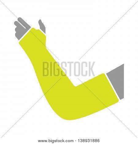 Flat Icon of Hand with Gypsum Bandage on White Background. Vector Illustration