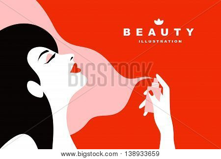 Young attractive woman using perfume. Flat art style.