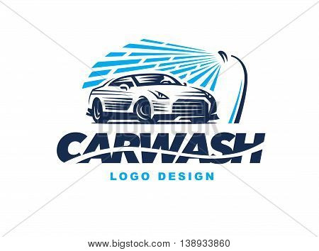 Logo design car wash on light background.