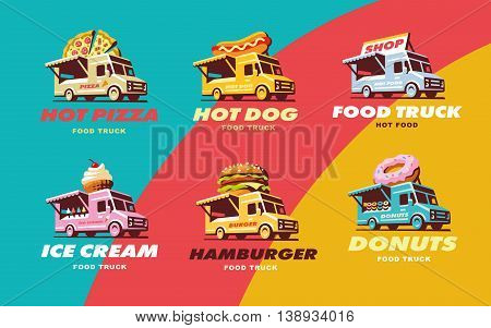 Set illustrations food truck, Pizza, hot dog, ice cream, burger donut elements