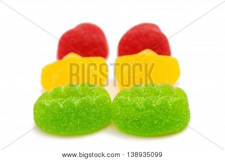 fruit jelly candies isolated on white background