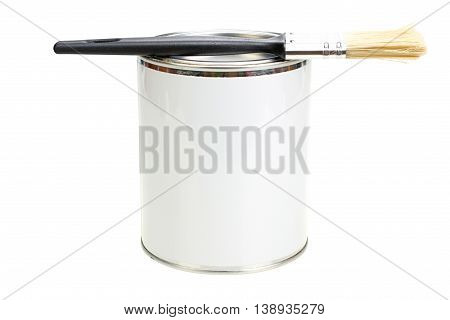Paint can with blank white label and paintbrush isolated with clipping path closeup
