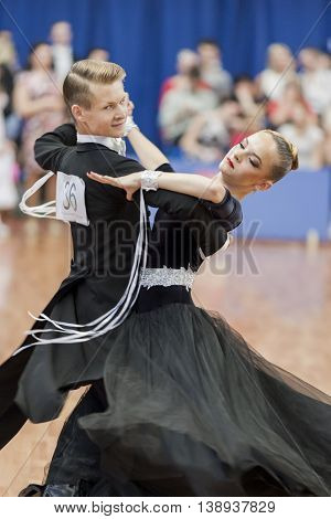 Minsk Belarus -May 28 2016: Gaidyuk Aleksandr and Zhuk Yana Perform Youth-2 Standard Program on National Championship of the Republic of Belarus in May 28 2016 in Minsk Republic of Belarus