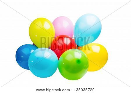 colorful balloons festive surprise on white background