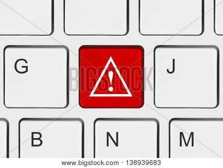 Computer keyboard with attention key - business background