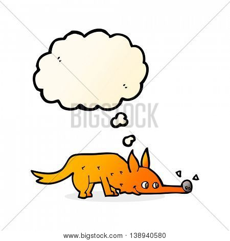 cartoon fox sniffing floor with thought bubble