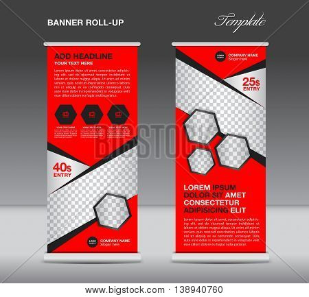 Red Roll up banner stand template advertisement flyer design vector for business