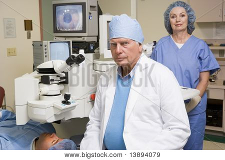 Doctor, Nurse And Patient About To Undergo Eye Exam