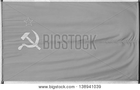 Flag Of The Soviet Union In Black And White