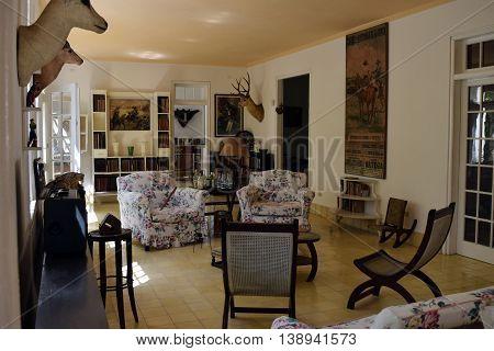 SAN FRANCISCO DE PAULA CUBA - JUNE 10th 2016: Ernest Hemingway's house Finca Vigia near Havana Cuba. It is now a museum. Most of